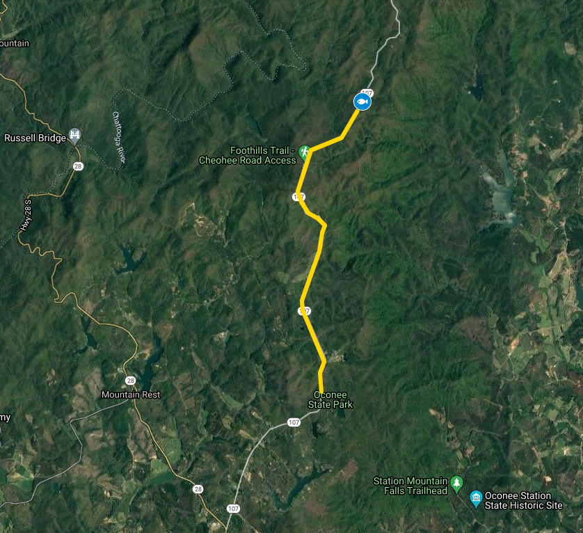 map of highway 107 with yellow line drawn between Oconee State Park and the old Burrell's Place, which is indicated with a fish icon